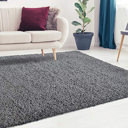 iCustomRug Cozy and Soft Solid Shag Rug 8X10 Charcoal/Dark Grey Ideal to Enhance Your Living Room and Bedroom Decor