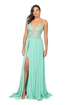 ea66ec594e56b Terani Couture 1913P8324 Floral Lace Corset Bodice High Slit Gown in Mint  Nude