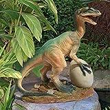 Design Toscano The Egg Beater Raptor Dinosaur Statue, Full Color