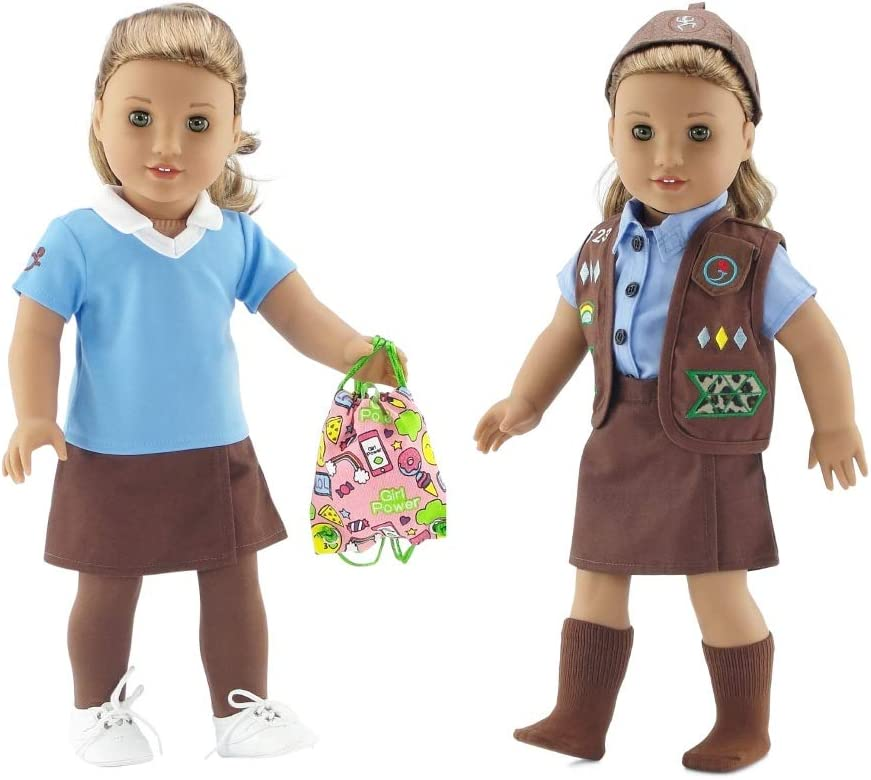 Emily Rose 18 Inch Doll Clothes | Modern Brownie Girl Scout 8 Piece Uniform and Accessory Value Pack | Fits American Girl Dolls | Gift Boxed!