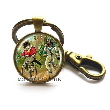 Llavero para gatos de bicicleta, regalo para amantes de los gatos, amantes de los