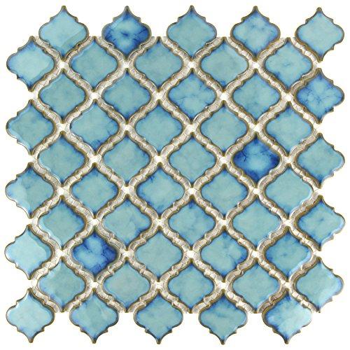 """SomerTile FKOLTR33 Tinge Marine Porcelain Floor and Wall Tile, 12.375"""" x 12.5"""", Blue"""