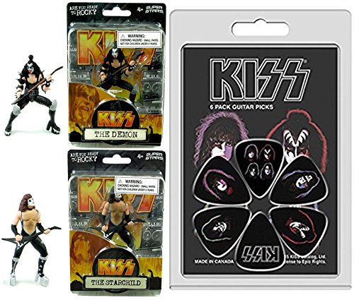 KISS Rock Band Action Figures & Ready to Roll Guitar Picks Solo Faces & Logo Set - The Demon & The Starchild 4.5