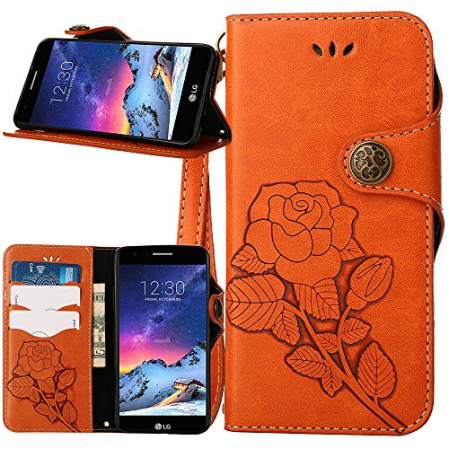 (LG Aristo Case, LG Fortune Case, LG Phoenix 3 Case, Linkertech [Kickstand Feature] PU Leather Wallet Flip Pouch Case Cover with Wrist Strap & Card Slots for LG K8 2017/LV3 (F-3))