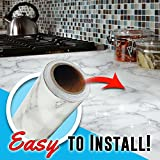"""11.8"""" x78.7""""Marble Contact Paper - Granite Gray / White Roll Kitchen countertop cabinet furniture is renovated Thick waterproof PVC practicalWs (11.8""""x78.7"""")"""