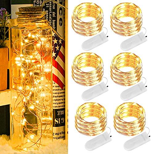 Micro LED Lichterkette mit Batterie, 6 Stück 2 Meter 20 LED Lichterketten Batterie Betrieb Auf IP65 Wasserdicht Kupfer Drahtlichterkette für Zimmer, Innen, Halloween, Weihnachten, Party, Hochzeit Deko