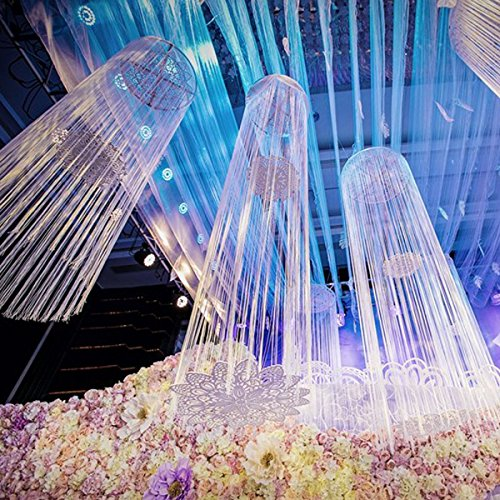 Laugh Cat Romantic Glitter White Stage Backdrop Decoration Fringe Lined Curtain Ferris wheel Ceiling Hanging Decoration (shining -
