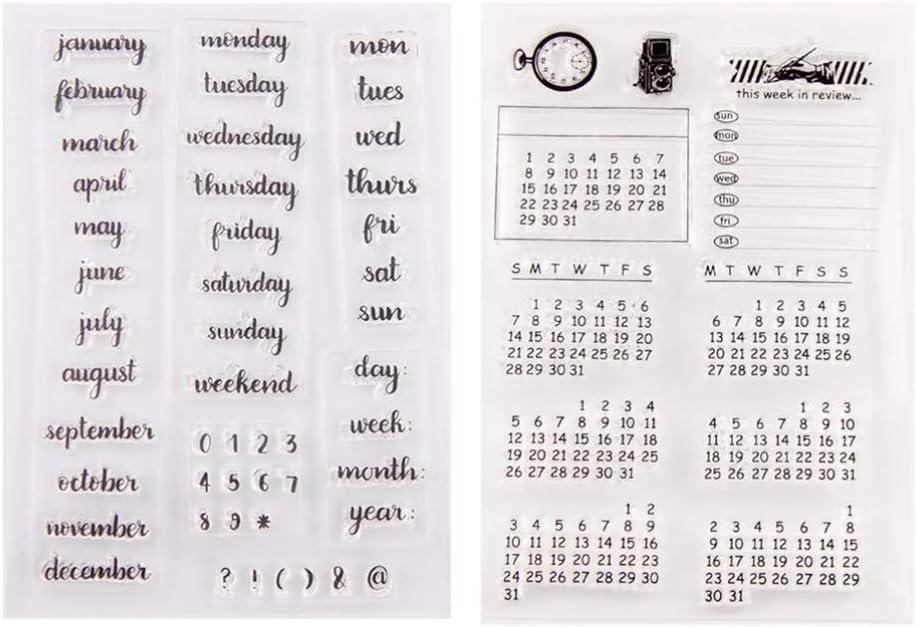 HEALLILY Sellos de Calendario 2 Piezas Semana Mes Sellos Claros para Diy Craft Scrapbooking Tarjeta /Álbum Diario /Álbum /Álbum Decoraci/ón