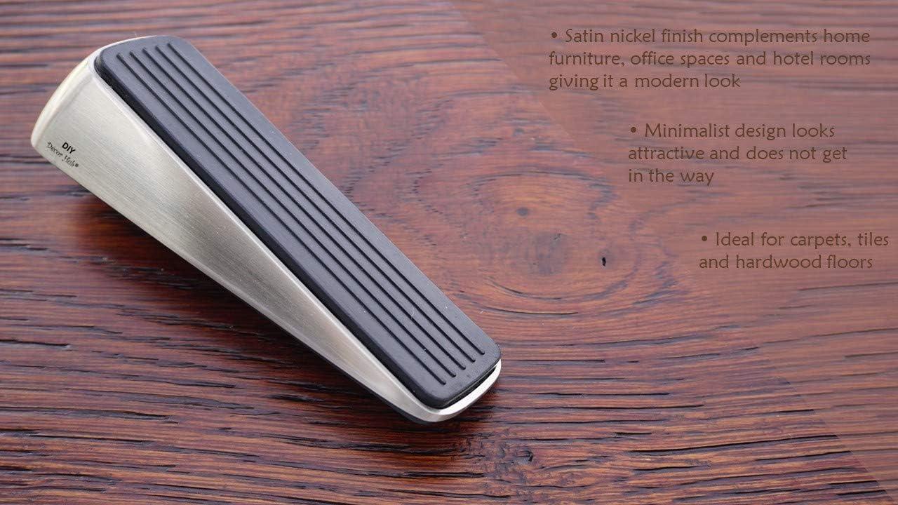 DIY D/écor Hub Door Stopper Heavy Duty Non-Rusting Heavy | Holds Doors in Place | Non-Slip 8 Door Wedges with Satin Nickel Finish | Premium Quality