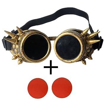 OMG _ tienda nueva latón Vintage Steampunk Goggles Gafas de soldadura Cyber Punk gótico amarillo, rojo (Red Lens): Amazon.es: Deportes y aire libre