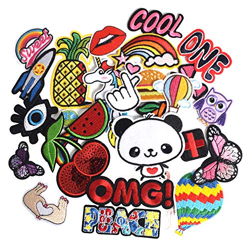 SHELCUP 30PCS Random Cool Embroidered Iron on Patches, for Jackets, Packs, Jeans, Assorted Styles, OMG Assortment