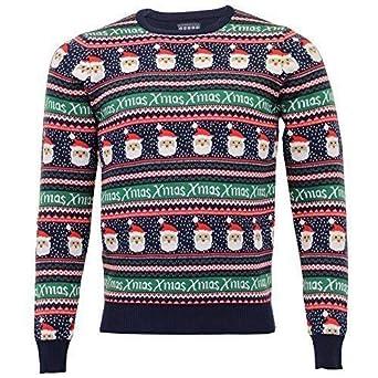 8033543e4ceb Herren Weihnachten Norweger Pulli Seasons Greetings NEUHEIT Santa Bommel -  marineblau - 1a10244, Medium