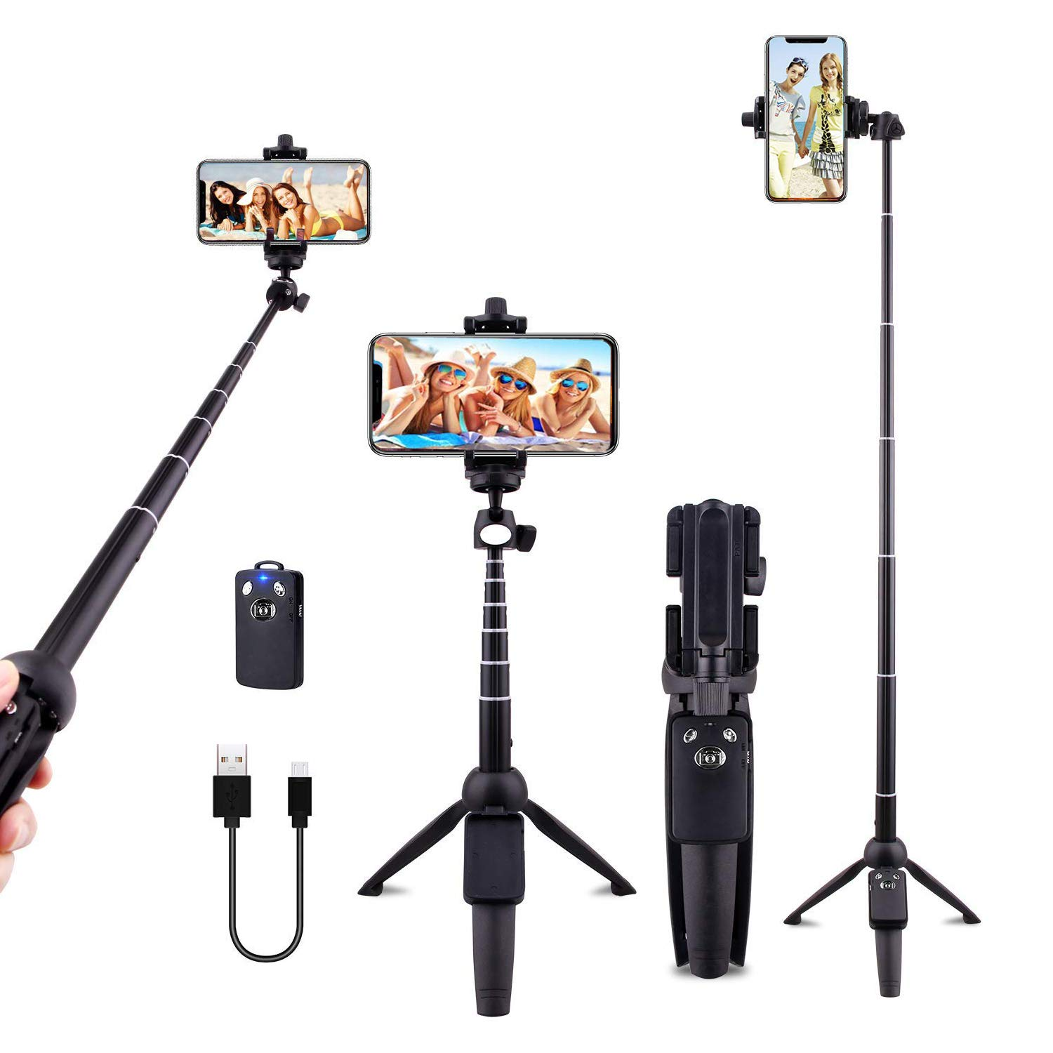 Selfie Stick Tripod Cell Phone Tripods 40 inch Bluetooth with Wireless Remote Shutter Compatible with iPhone X/8/8P/7/7P/6s/6P,Galaxy S9/S9 Plus/S8/S7/ S6/S5/Note 8,Google and More