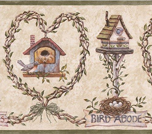 Bird Nest Birdhouse Beige Wallpaper Border Farmhouse Design, Roll 15' x 9'' ()