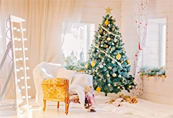 Ofila Christmas Backdrop 7x5ft Photography Background Xmas Tree Decoration Doll String Lights Curtain Festival Celebration Children