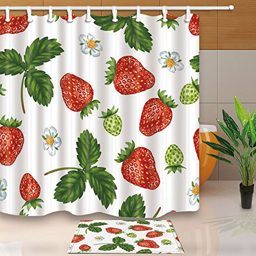 NYMB Green Plant Strawberries Daisies Leaves Kids 69X70in Mildew Resistant Polyester Fabric Shower Curtain Suit With 40x60cm Flannel Non-Slip Floor Mat Bath Rugs - Fabric Flannel Daisy