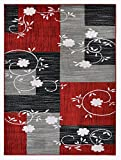 "Designer Collection Squares and Flowers Design Contemporary Modern Area Rug Rugs 3 Different Color Options (Red, 7'10″x9'10"")"