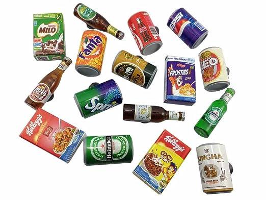 16pc Mix en miniatura caja de cereales lata de Coca Cola pared ...