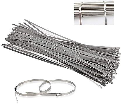 QLOUNI 100pcs Bridas Metalicas Cable Lazos Retardante de Llama para Jardín y Coche Sujetar Tubo de Escape, Verja Exterior y Más 4.6mm x 300mm (Plata): Amazon.es: Bricolaje y herramientas