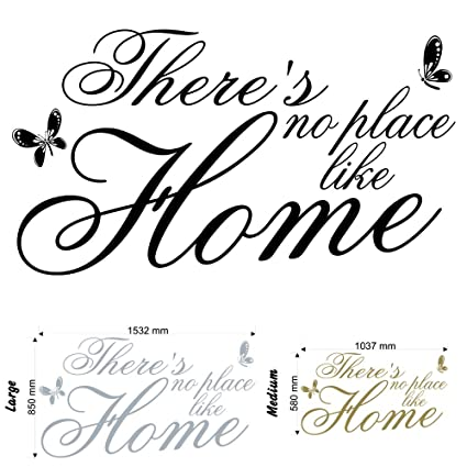 9d57a8f30aad4 There's No Place Like Home v2 - Wall Decal Sticker Quote lounge living room  bedroom (Medium)