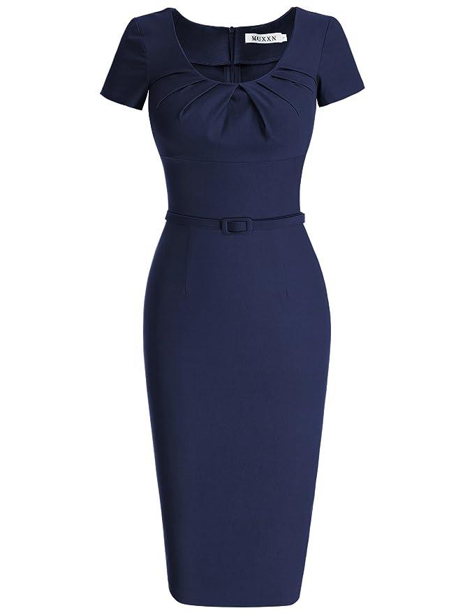 Review MUXXN Women's 1950s Vintage Short Sleeve Pleated Pencil Dress