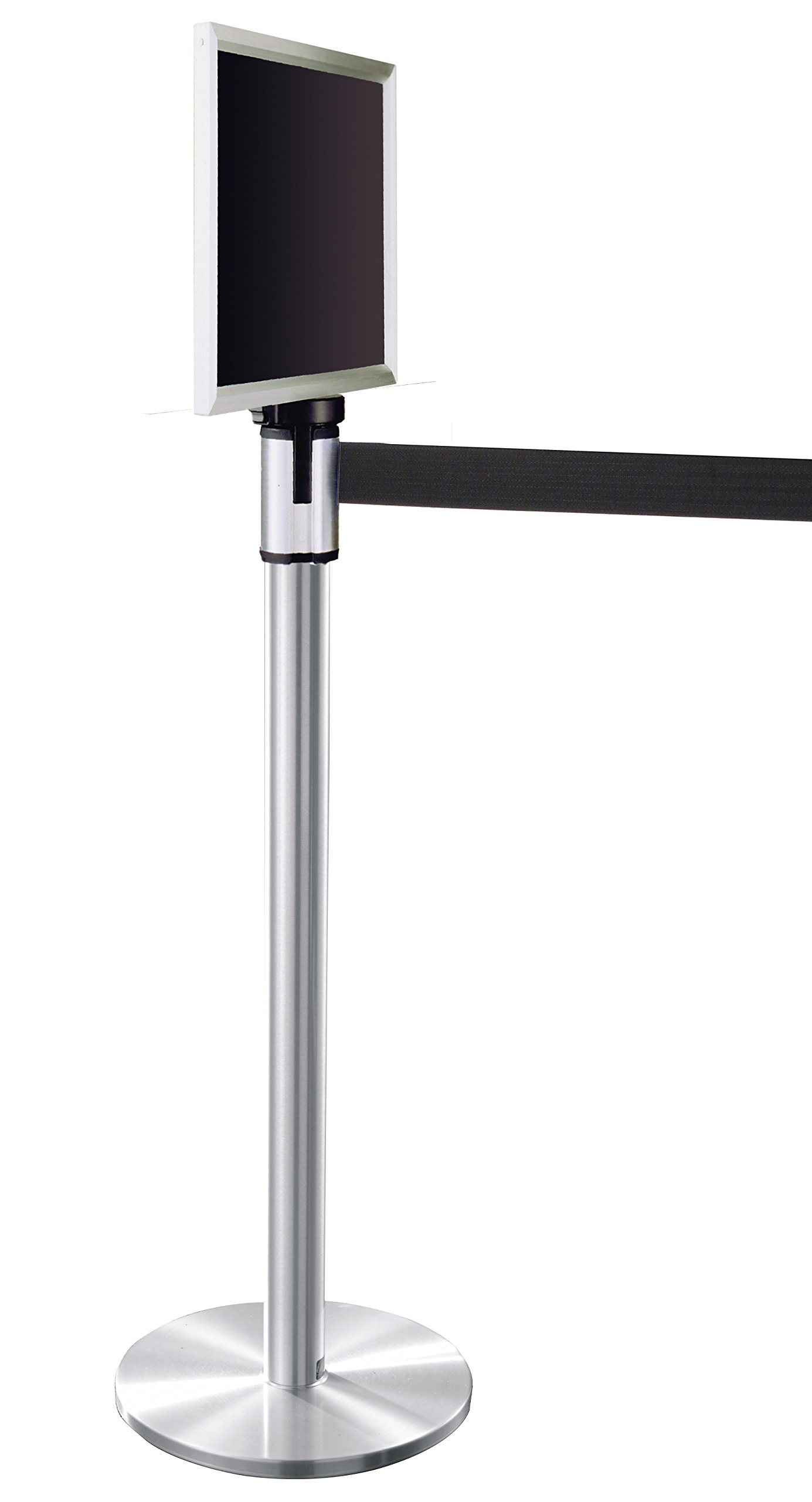 Glaro 152SA-BK-EXL1411SA 13' Retractable Belt Crowd Control Post - Satin Aluminum finish - Black Belt - Satin Aluminum Sign Frame Included