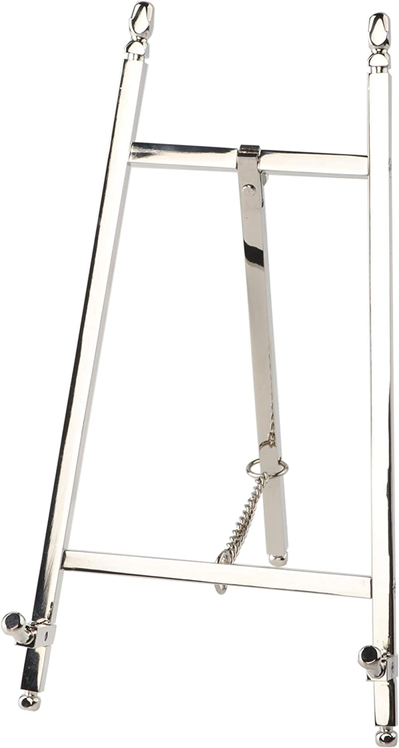malleable Table Top Easel,Brass Plate Stands for Display, Silver,10 Inch,250MM