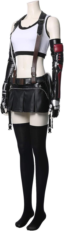 lancoszp Donna Tifa Lockhart Cosplay Costume Travestimento Halloween Carnevale Gioco Combattente Pugile Gilet Senza Maniche Gonna di Pelle Set Completo