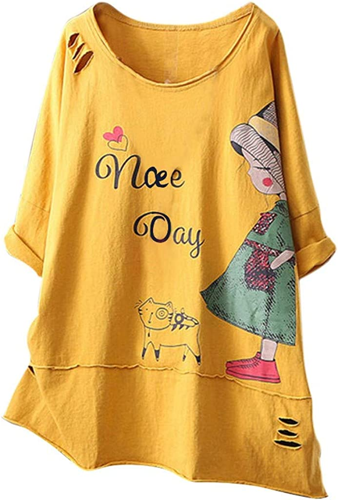 Aniywn Womens Cute Pattern Printing Baggy Round Neck Short Sleeve Plus Size Tops Blouse Streetwear T-Shirt