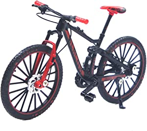 Ailejia Mini Finger Mountain Bikes Racing Bicycle Finger Bike Toy Mini Bicycle Vehicles Model Decoration Crafts for Home (Black Red)