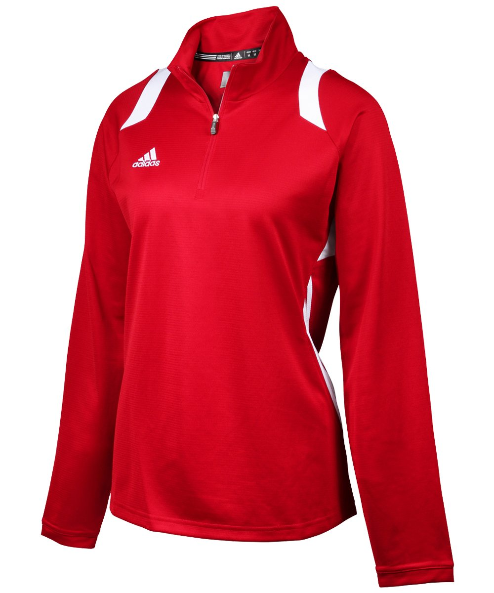 adidas Womens Climalite Game Day 1/4 Zip Jacket Small Power Red by adidas