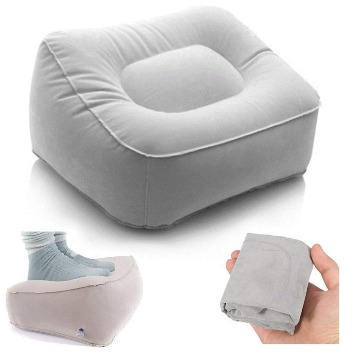 Inflatable Foot Rest Pillow - 2 Pack Leg Up Footrest for Travel Office & Home Relax pillow Cushion 4332456377