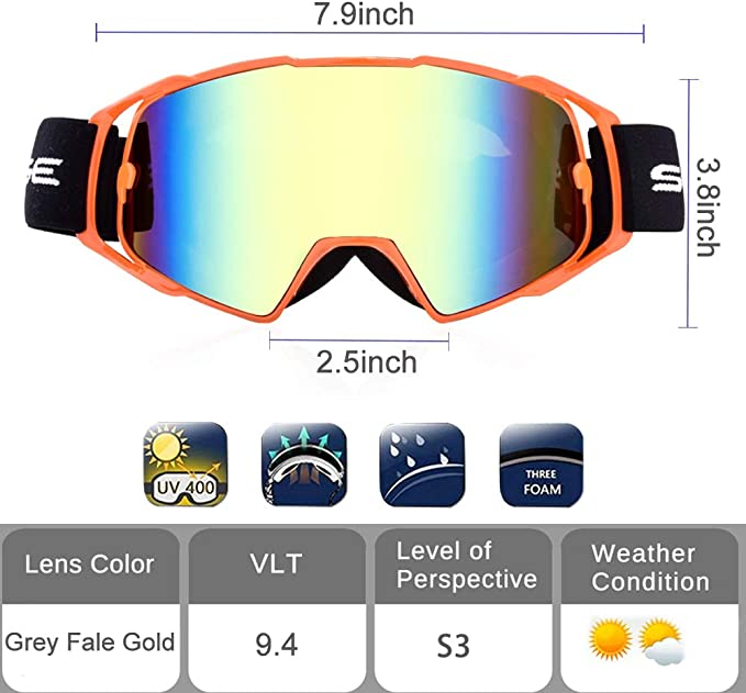 Motorcycle Goggles Dirt Bike Goggles for Adults Orange Motocross Goggles with OTG Design and Helmet Compatibility