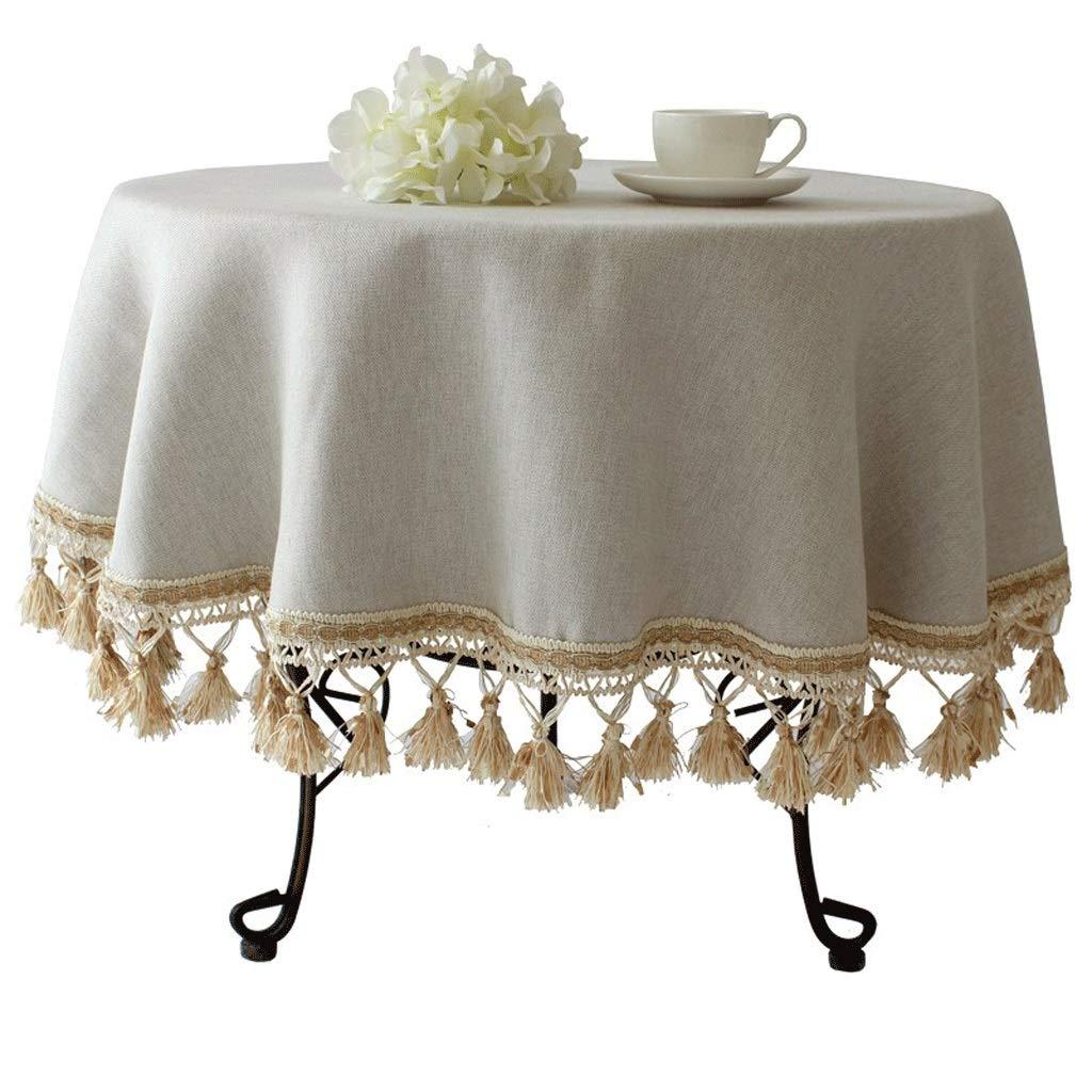 D 160cm Nappe ronde européenne haut de gamme Nappe ronde Maison Style pastoral méditerranéen Tissu de table en coton et lin (Couleur   E, taille   220cm)