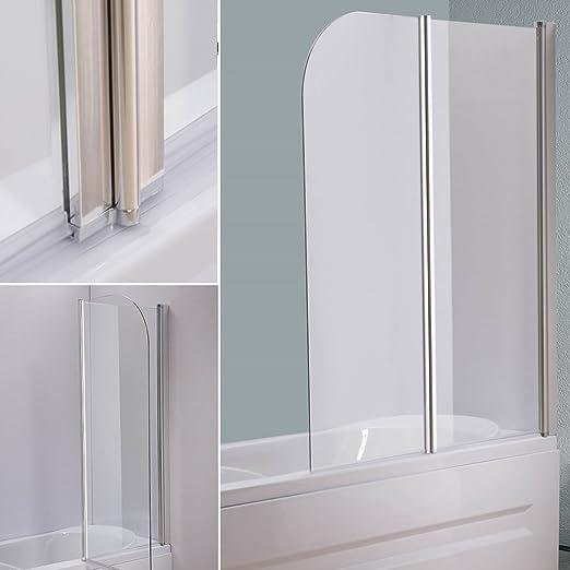 133 x 108 cm cristal bañera Mampara de bañera plegable pared para bañera: Amazon.es: Bricolaje y herramientas