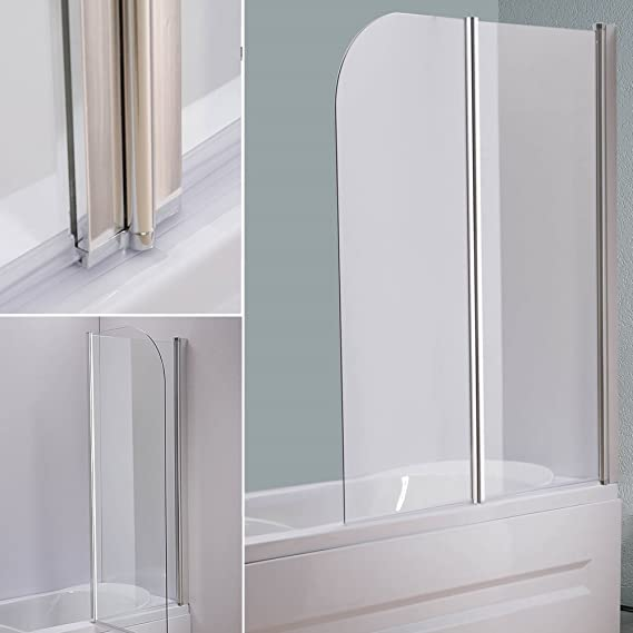 133 x 108 cm cristal bañera Mampara de bañera plegable pared para ...