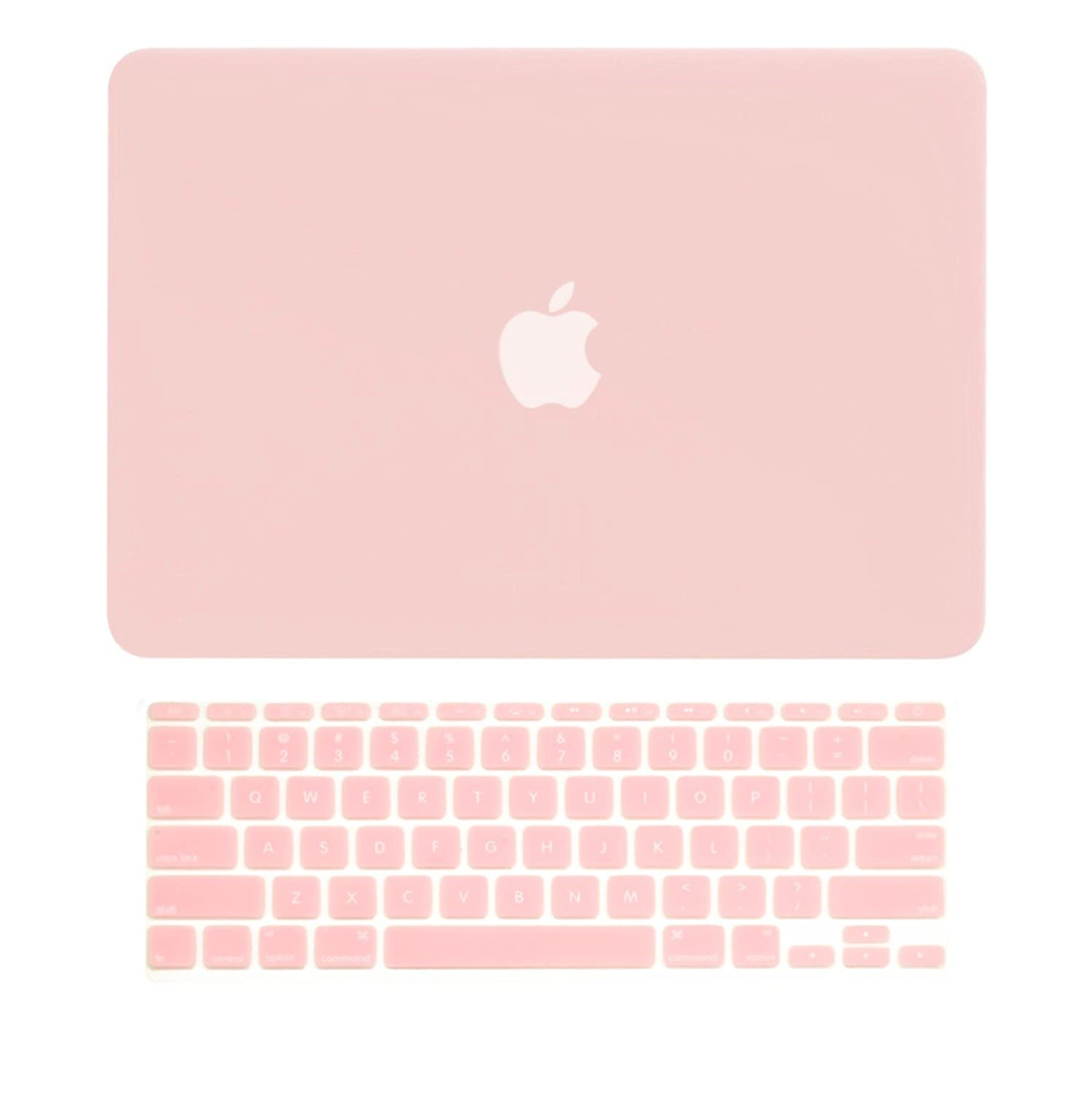 """TOP CASE - 2 in 1 Bundle Deal Air 11-Inch Rubberized Hard Case Cover and Rose Quartz Keyboard Cover for Macbook Air 11"""" (A1370 and A1465) with TopCase Mouse Pad - Rose Quartz"""