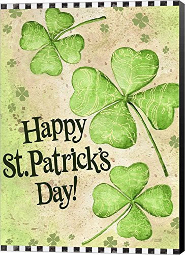 St. Patrick's Day Clover by Melinda Hipsher Canvas Art Wall Picture,