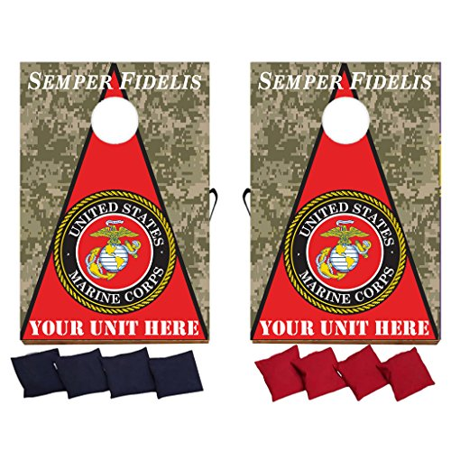 VICTORYSTORE.COM Customizable Marine Corps Semper Fidelis Cornhole Game - Military Bag Toss Game - 8 Bags Included - Wooden Boards - Made in The USA - Custom Unit Name