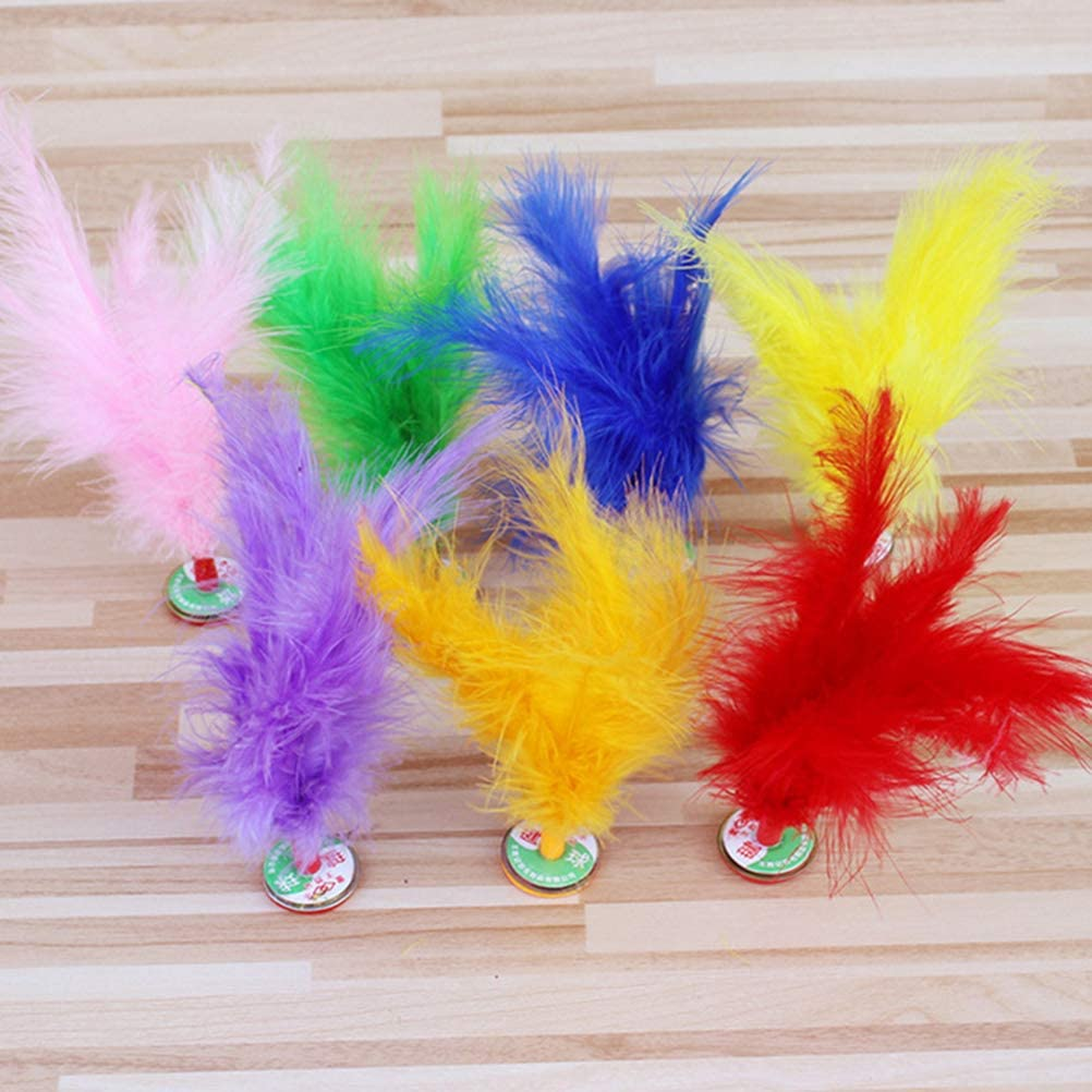 STOBOK 12pcs Kick Feather Shuttlecocks Foot Sports Toy Chinese Jianzi Kicking Shuttlecock Random Color
