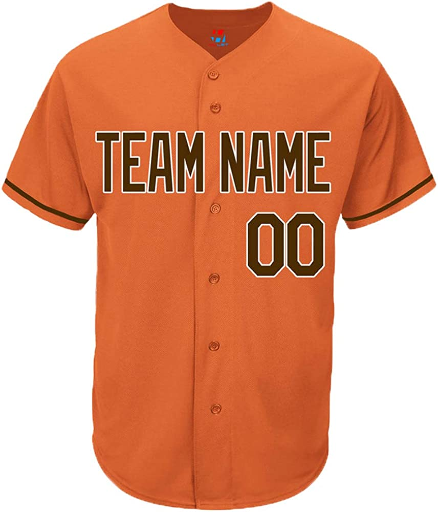 Design Your Own Pullonsy Orange Custom Baseball Jersey for Men Women Youth Replica Sitched Team Player Name /& Numbers S-8XL