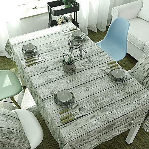 Cotton-flax Tablecloths, Round or Rectangular Fabric Tablecloth, Machine Washable, Wood Stripe Kitchen Tablecloths For Dinner Parties, Summer & Outdoor Picnics. (55 x 40 inches /140 x 100 cm)