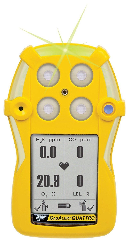 BW tecnologías qt-00h0-a-y-na GasAlertQuattro 1-gas detector de humos con pila alcalina, H2S, 0 - 200 ppm Rango de medición, 0,1 ppm resolución, ...