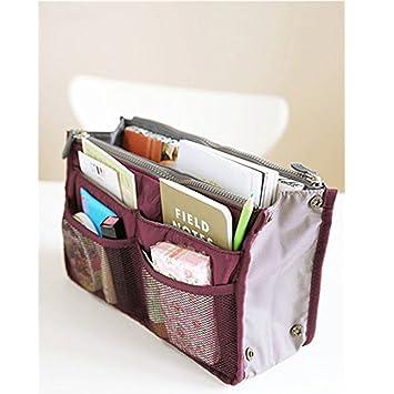 81503abef475 Travel Insert Handbag Organiser Purse Nylon Handbag Insert Comestic Gadget  Large Liner Organizer Tidy Bag Wine Red for Women by TheBigThumb