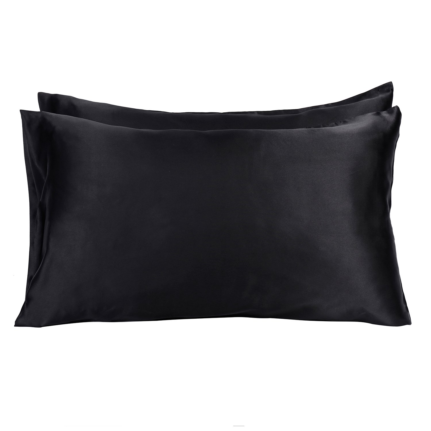 MOVEONSTEP Pillow Cases 2 Pack Housewife Bedroom Pillow Covers Plain Silky-soft Brushed Microfiber Pillowcases Queen Size 75 * 50cm (Black)
