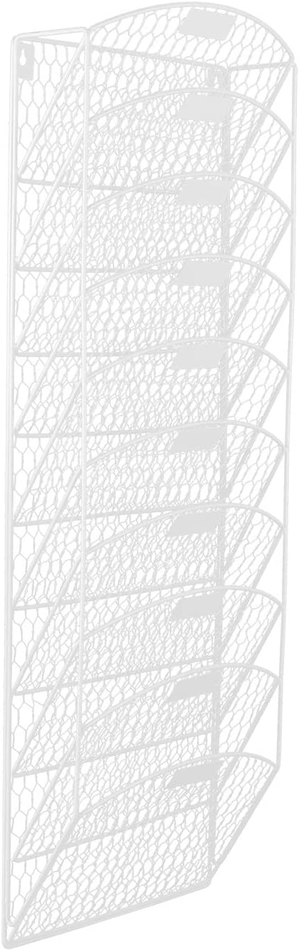 EasyPAG 10 Tier Office Wall File Holder Organizer Hanging Metal Chicken Wire Magazine Rack,White