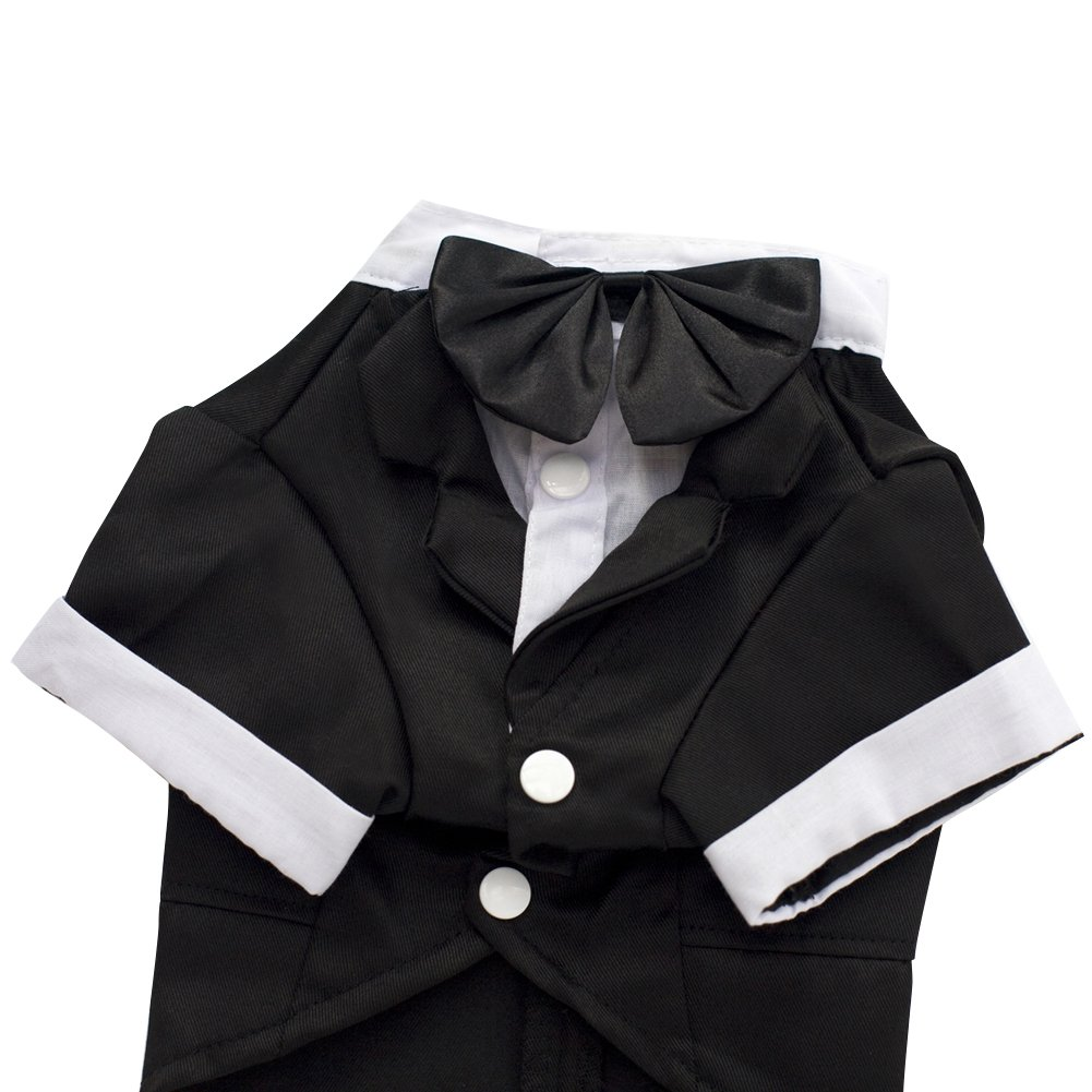 Kuoser Dog Shirt Puppy Pet Small Dog Clothes, Stylish Suit Bow Tie Costume, Wedding Shirt Formal Tuxedo with Black Tie, Dog Prince Wedding Bow Tie Suit (L(Back: 12'',Chest: 17'',Neck:12''), Black) by Kuoser (Image #5)