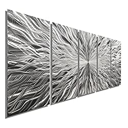 Statements2000 Large Abstract Silver Metal Wall Art Decor by Jon Allen, 64 x 24
