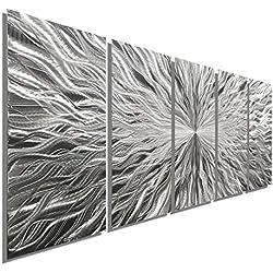 "Statements2000 Large Silver Metal Wall Art Sculpture - Multi Panel Abstract Wall Decor by Jon Allen - Vortex 5P - 64"""