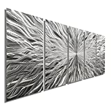 Large Silver Metal Wall Art Sculpture - Multi Panel Abstract Wall Decor by Jon Allen - Vortex 5P - 64''